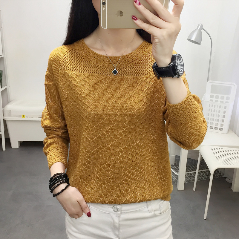 Woman Sweater With Round Collar And Loose Lace Hollow Out FAIRY FASHION Pullover In Spring And Autumn Of 2019