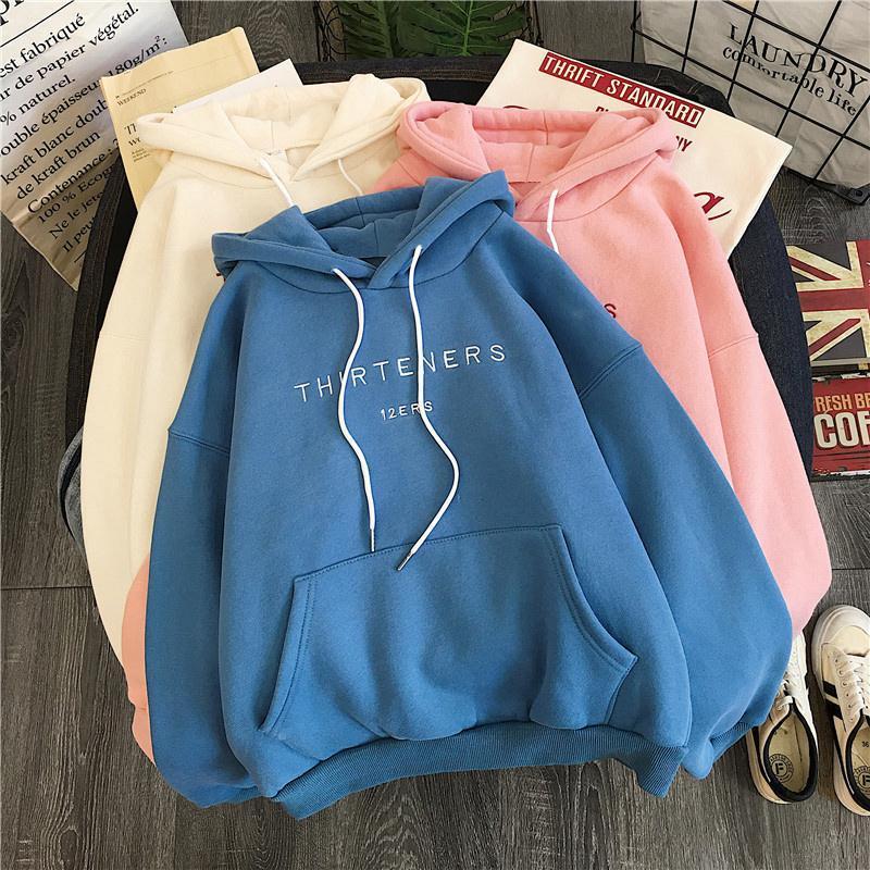 oversized women hoodie clothing long-sleeved printed letters sweatshirt fashion pocket ladies casual pullover women Korean style 1