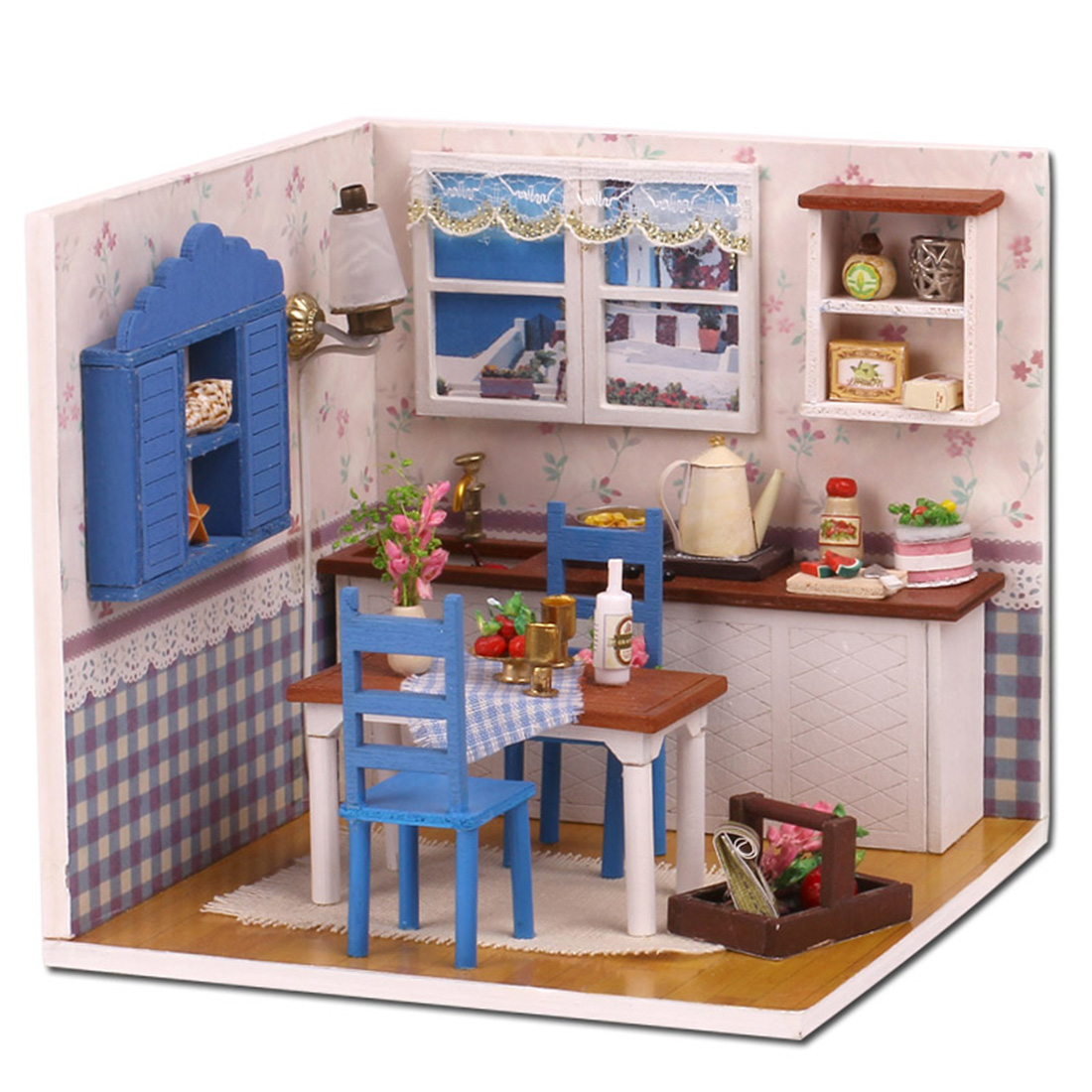 DIY Creative Handmade Theme Wooden Cabin Assembly Building Model Toy Set - Warm Afternoon