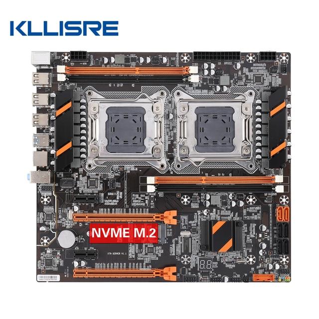 Kllisre X79 doble CPU placa base LGA 2011 E ATX Tablero Principal USB3.0 SATA3 PCI E 3,0 16X PCI E NVME M.2 SSD compatible con procesador Xeon