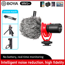 BOYA BY-MM1+ Video Record Microphone clip mic for recording studio android iphone mobile canon vlogging DSLR camera smartphone boya by m1 m1dm by mm1 dual omni directional lavalier microphone short gun video mic for canon nikon iphone smartphones camera