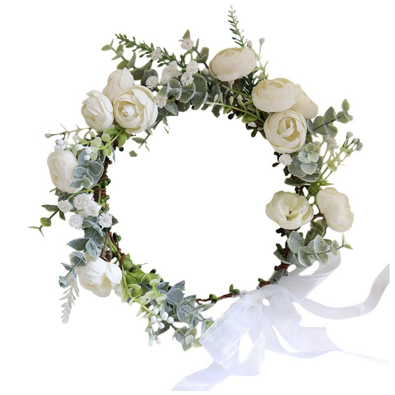 New Camellia Flowers Wreath Crown Festival Headband Women Hair Accessories Headdress Girl Floral Garland Wedding Floral Headwear