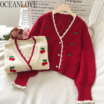 OCEANLOVE Embroidered Cardigans Knit Wear Sweet Puff Sleeve Short Mujer Chaqueta Autum Winter V Neck Cherry Sweaters Women 18958 1