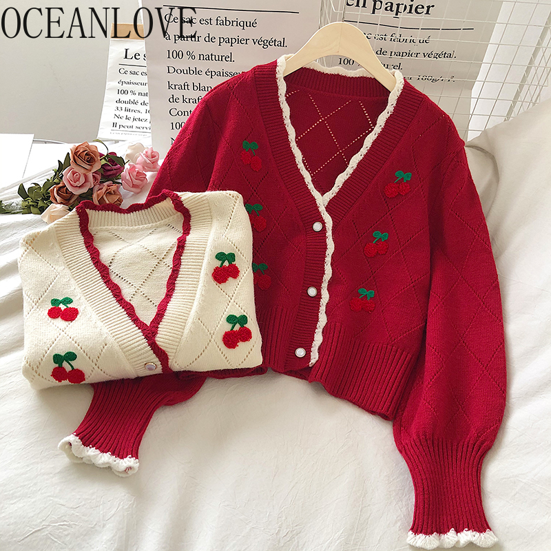 OCEANLOVE Embroidered Cardigans Knit Wear Sweet Puff Sleeve Short Mujer Chaqueta Autum Winter V Neck Cherry Sweaters Women 18958