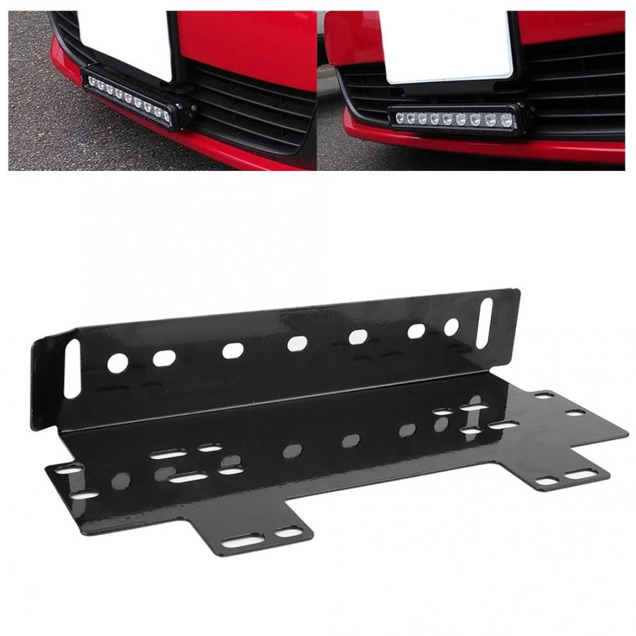 Front Bumper License Plate Mount Bracket Black for Jeep Car Offroad LED Light Bar Led Work Light LED Beam