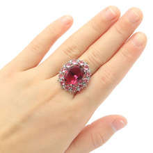 26x23mm SheCrown Romantic Created Pink Tourmaline CZ Gift Fo