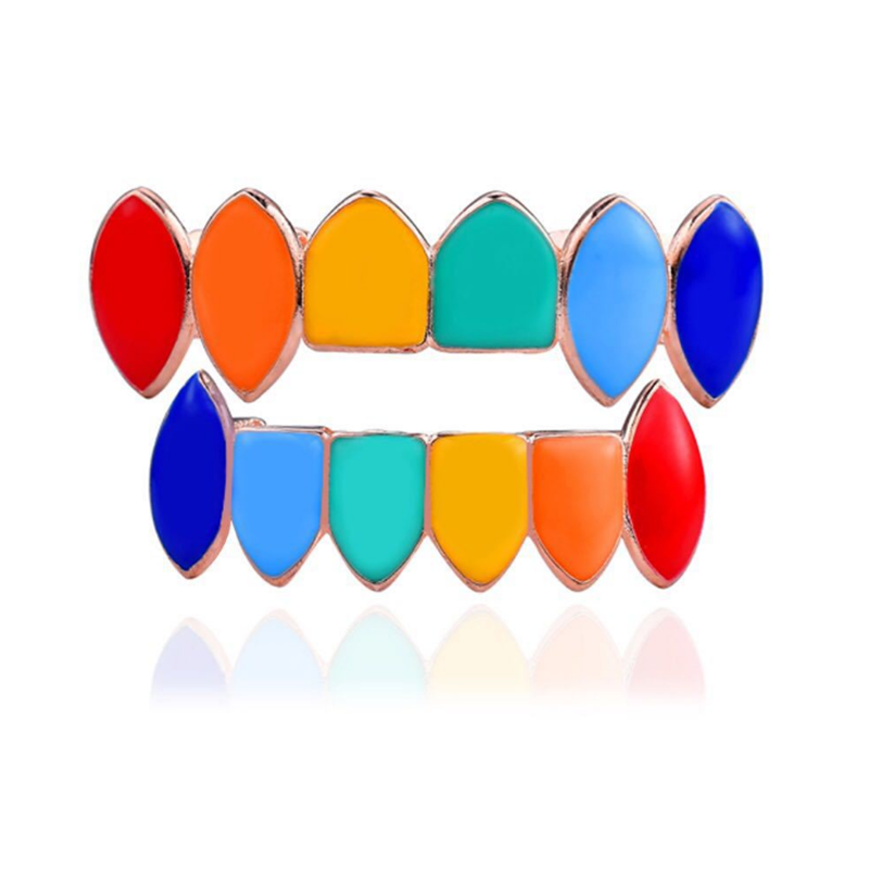 Hip Hop Teeth Jewellry Sets Colorful Top Bottom Tooth Cosplay Party Rapper Teeth Grillz