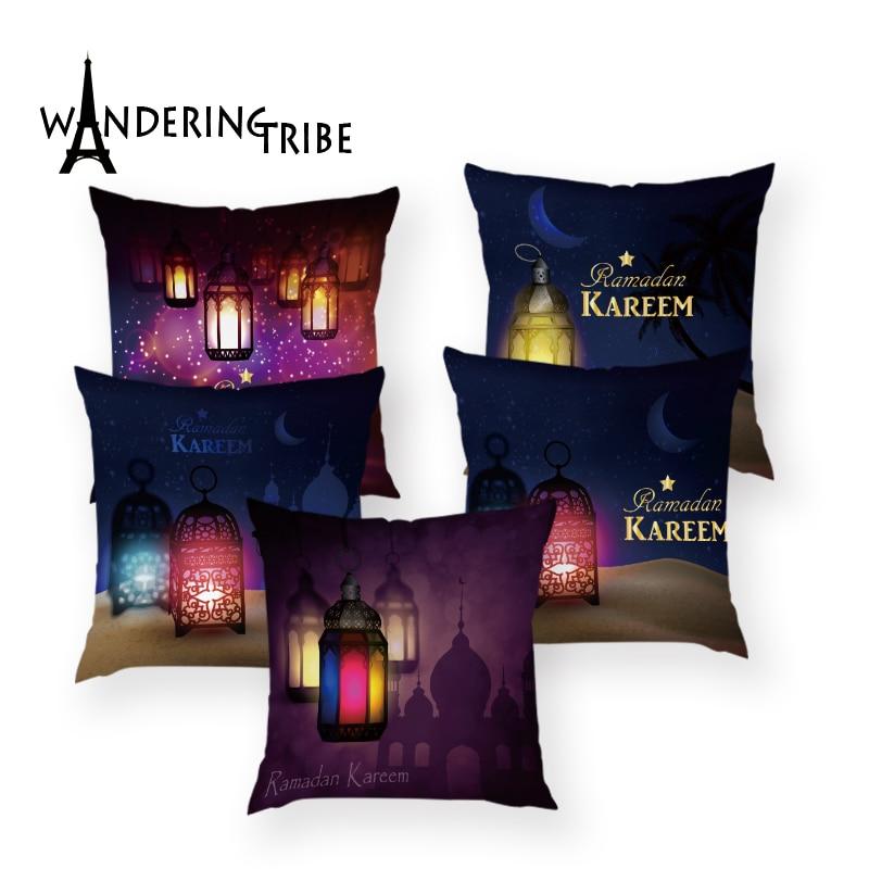 45x45cm Muslim Ramadan Decoration Classic Lantern Moon for Home  Sofa Bed Car Throw Pillow Cover Eid Mubarak Decor Kinderfeestje
