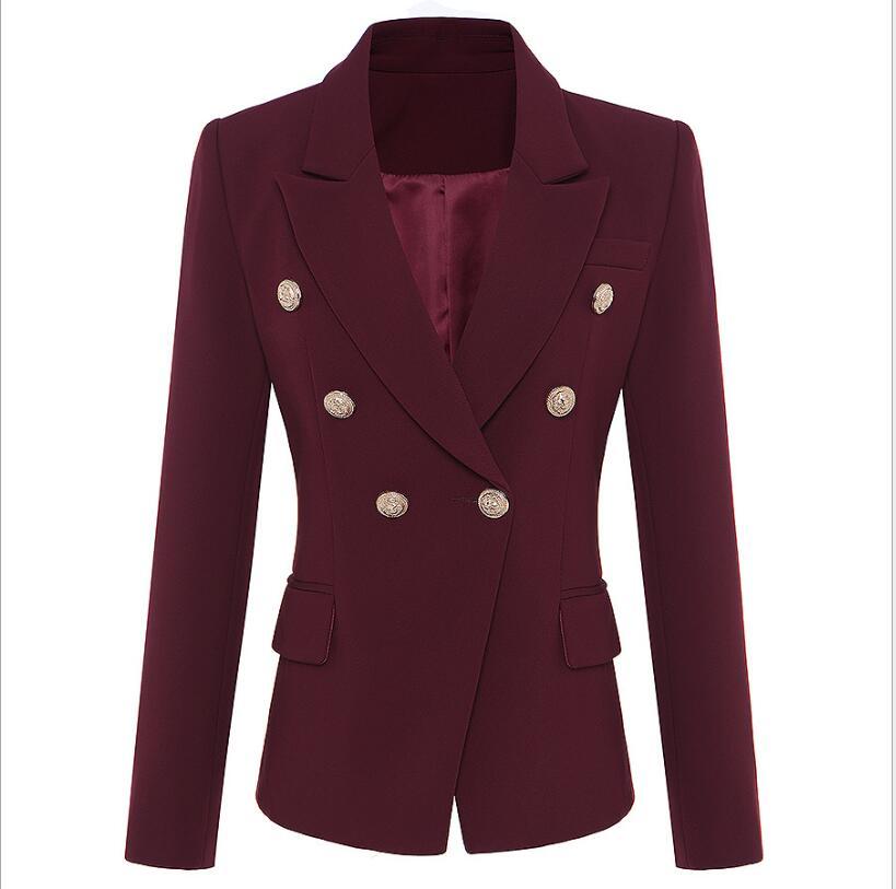 2019 Blazer Coat Hot Sale Fashion High Quality Casual Blazer Double Breasted Jujube Retro Gothic Women Blazer Jacket