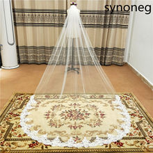 Fashion Bridal Veils 3 M White Ivory Cathedral Length Wedding Veils One Layer Lace Bridal Accessories Veil with Comb(China)