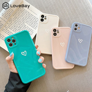 Love Heart Camera Protection Phone Case For iPhone 11 12 Pro SE 2020 7 8 Plus X XR XS Max Candy Color Glossy Soft TPU Back Cover