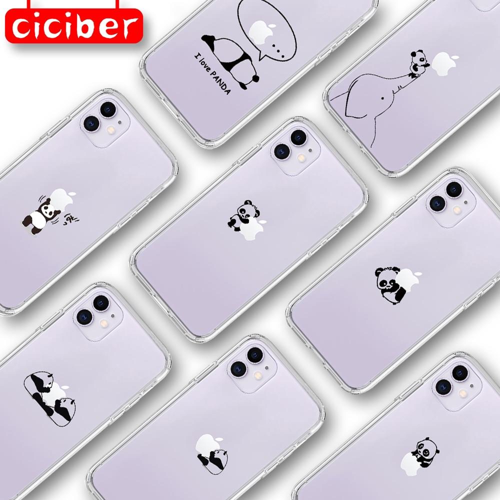 ciciber Off Panda Cat Dinosaur Phone Case for iphone 11 Pro XS Max 7 8 6 6S Plus 5S SE 2020 X XR Soft White Transparent TPU Back
