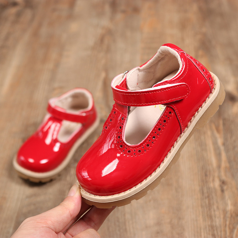 Children Shoes Baby Girls Glossy Retro Leisure Shoes Soft Bottom Leather Shoes Princess Shoes Spring Autumn Solid Color SMG12