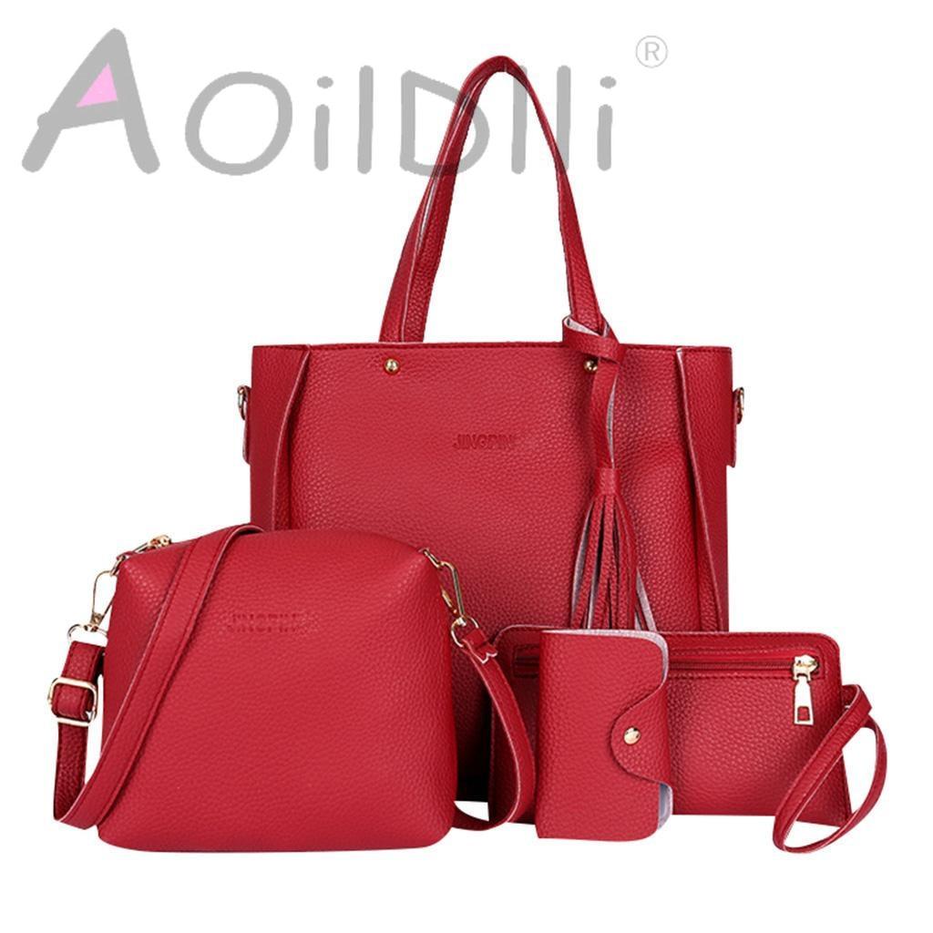 Four-piece Bag Luxury Handbags Women Bags Designer 2019 New Fashion Four-piece Suit Shoulder Bag Messenger Bag Wallet
