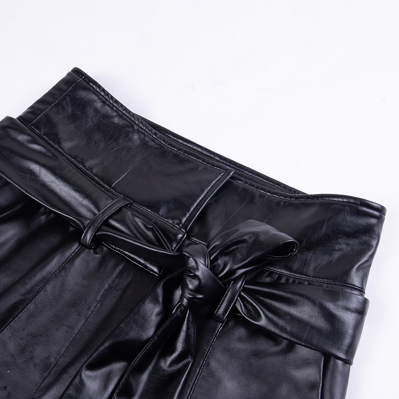 InstaHot Gold Black Belt High Waist Pencil Pant Women Faux Leather PU Sashes Long Trousers Casual Sexy Exclusive Design Fashion 29