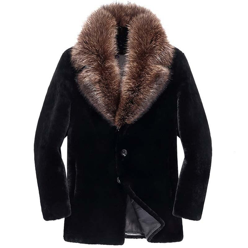 Men's Winter Jacket Real Sheep Shearling Coat Men Clothes 2020 Raccoon Fur Collar Warm Jackets Plus Size DXL1642 MY1802