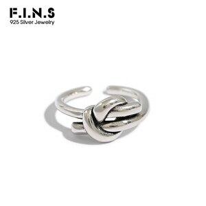 F.I.N.SAntique Punk prawdziwe 925 srebro pierścień Retro węzeł pierścienie dla kobiet srebrne pierścienie 925 koreański styl kobieta dekoracji