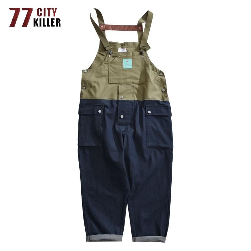 77City Killer Streetwear Overalls Men Patchwork Cargo Mens Pants Functional Multi-pocket Denim Pants Male Cargo Coveralls Jeans