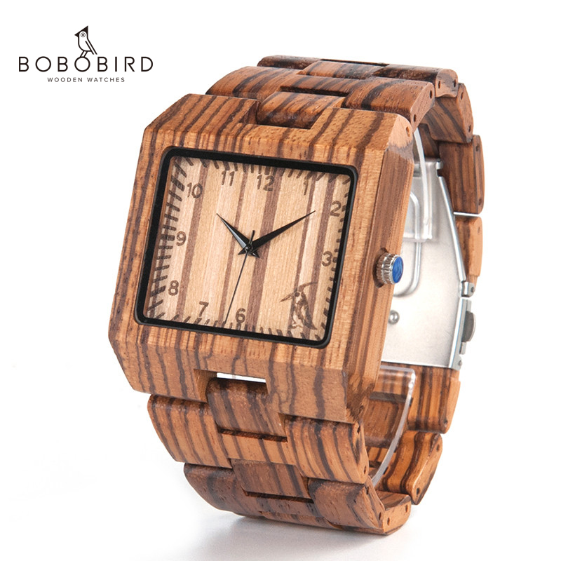 BOBO BIRD New Arrival Men Watch L24 Zebra Wooden Watch Mens Luxury Brand Design All Wood Quartz Wristwatch in Gift Boxwristwatch brandwristwatch menswristwatch wood -