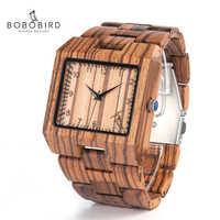 ボボ鳥新到着メンズ腕時計 L24 ゼブラ木製腕時計メンズ高級ブランドデザインすべての木材クォーツ腕時計ギフトボックス