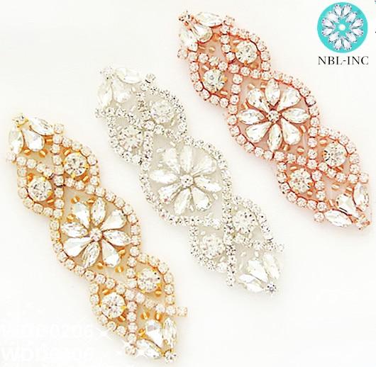 1pc Silver Rose Gold Rhinestone Bridal Belt Wedding Applique With Crystals Wedding Dress Accessories Iron On Sew On Wdd0206 Super Sale Dda5 Cicig
