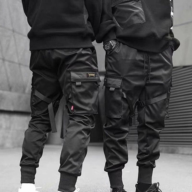 Hot Men Cargo Pants Ribbons Harem Joggers Harajuku Sweatpant Hip Hop Trousers CGU 88