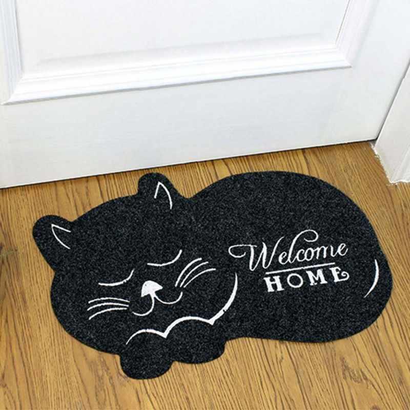 Cute Cat Welcome Doormat Non-Slip Rubber Entrance Mat Floor Mat Rug for Home