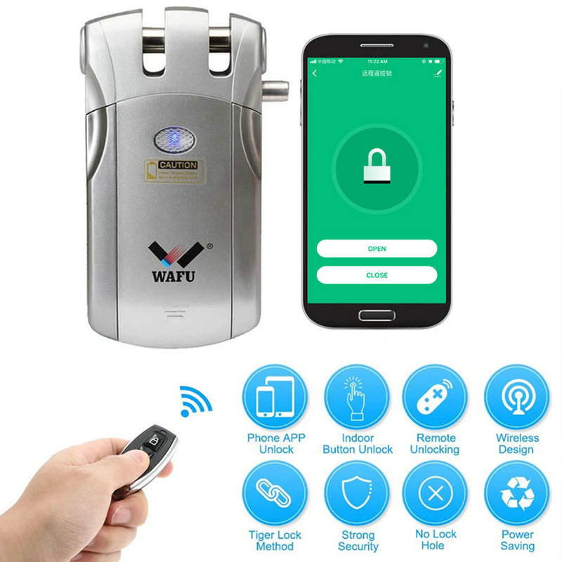 WAFU 018W WIFI Smart Door Lock Wireless Remote Control Lock Security Invisible Keyless Intelligent Lock iOS Android APP Unlock image
