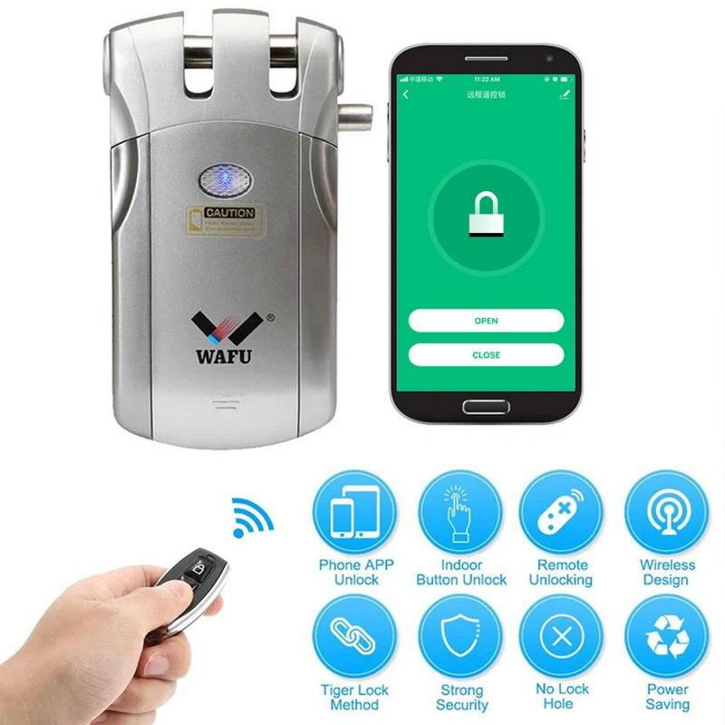 WAFU 018W WIFI Smart Door Lock Wireless Remote Control Lock Security Invisible Keyless Intelligent Lock IOS Android APP Unlock