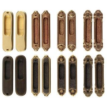 1 Pair Brass Door Handles Sliding Door Handle European Style Hidden Book Door Handles Insert Installation Bedroom Door Handles