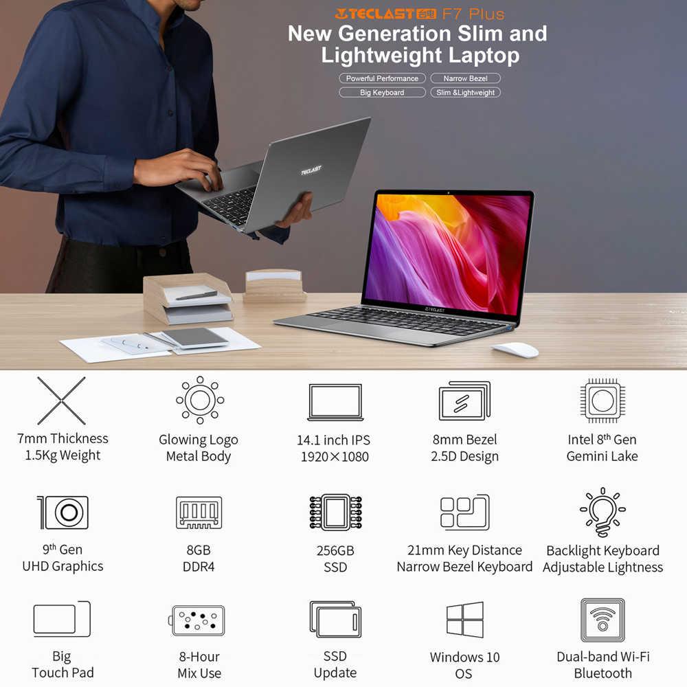 14.1 Cal laptopy Teclast F7 Plus Notebook Windows 10 1920x1080 Intel Gemini Lake N4100 czterordzeniowy 1.1 GHz 8 GB RAM 256 GB SSD