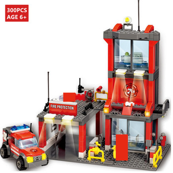 300Pcs City Fire Station Engine Car Building Blocks Sets Firefighter Truck Brinquedos Kit Bricks Educational Toys for Children
