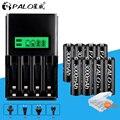 PALO 8 шт. AA 3000 мАч аккумуляторная батарея с ЖК-зарядным устройством для Ni-MH NI-CD 1 2 в AA AAA аккумуляторная батарея для игрушечных автомобилей