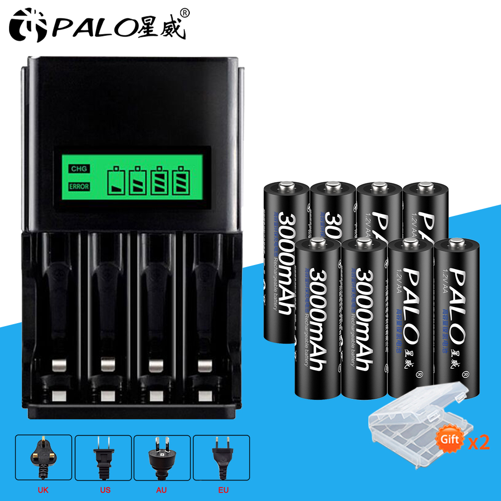 PALO 8pcs AA 3000mah rechargeable battery with LCD Battery Charger For NI-MH NI-CD 1.2v AAA Rechargeable for toy cars