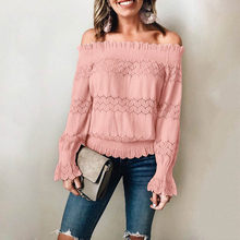 35& Off Shoulder Top Autumn And Winter Women's Blouse Solid Color Lace One Shoulder Long Sleeve Blouse Plus Size Women блузка(China)