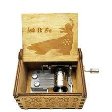 Antigo esculpido de madeira mão caixa de música impressão deixá-lo ir caixa de música para meninas presente de aniversário presentes de natal ano novo