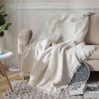 BATA DE VIAJE PARA sofá nórdico, manta decorativa de algodón de doble cara, para sala de estar