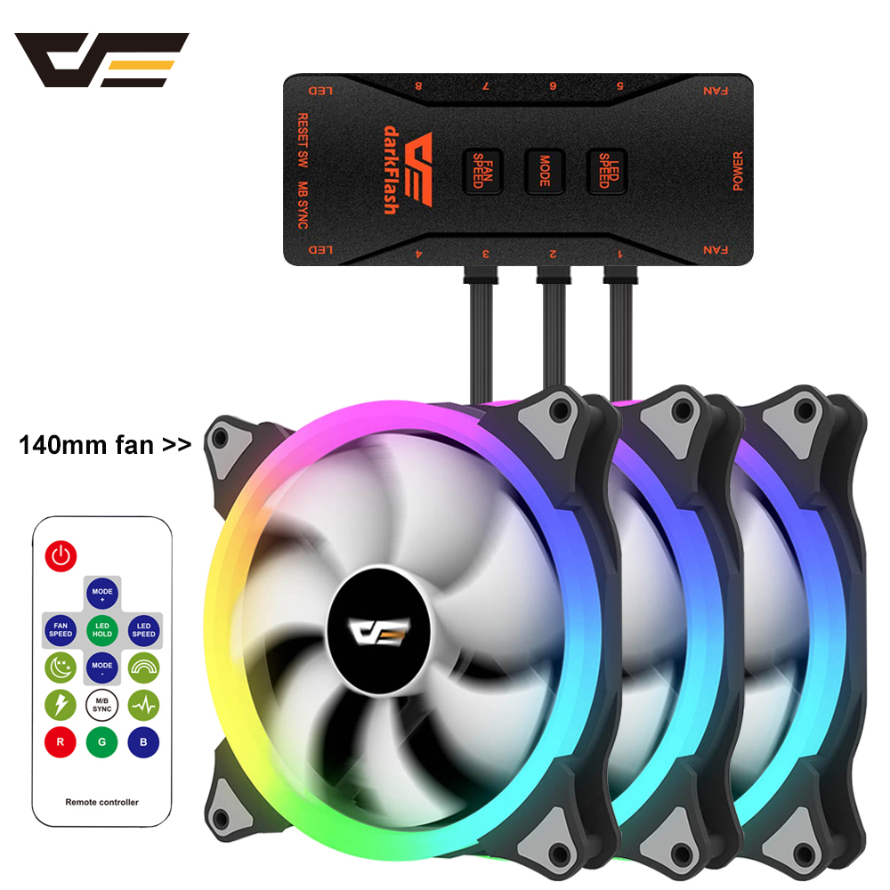 darkFlash Computer PC Case <font><b>Fan</b></font> <font><b>140mm</b></font> <font><b>RGB</b></font> LED Speed Adjust 3pin 5V 4pin Power IR Remote AURA SYNC PC Cooler Cooling Case <font><b>Fan</b></font> image