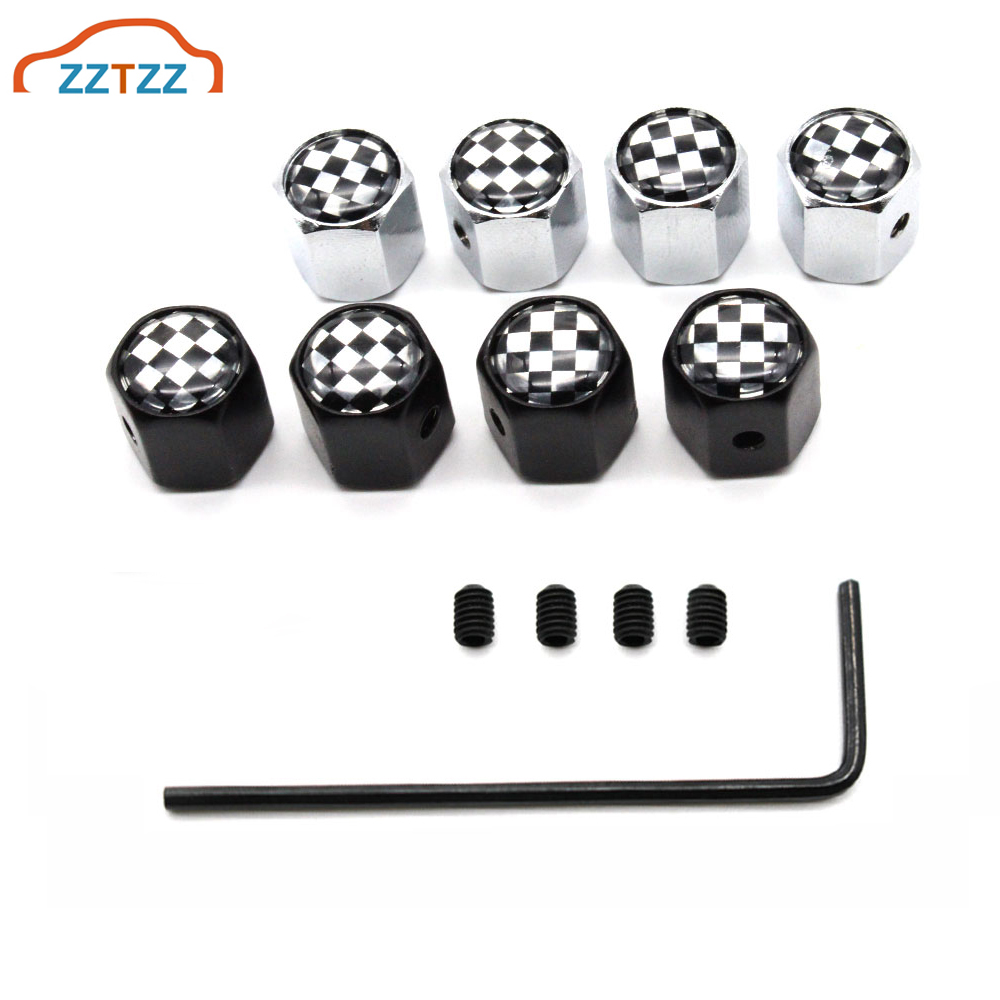 Black Tyre Caps Wheel Valve Chrome Anti-Theft Set of 4 Tire Dust Cap Universal