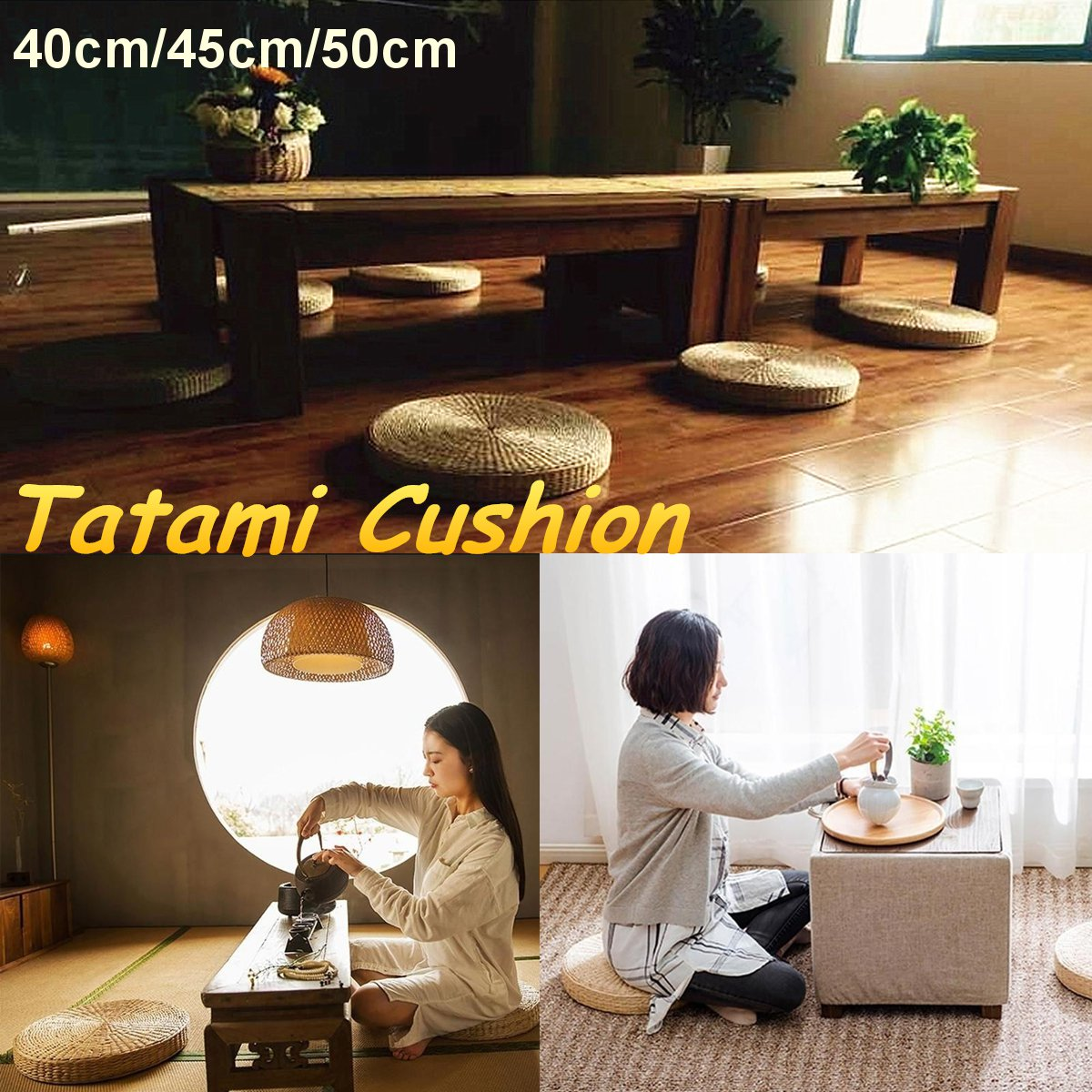 Rattan Tatami Seat Cushion Sofas Round Floor Meditation Yoga Mat Chair Sitting Futon Cushion Tatami Buddha Pad 40/45/50cm