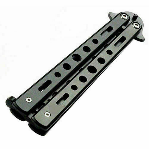 Butterfly Black Metal Balisong Trainer Training Dull Tool Practice Toy Knife