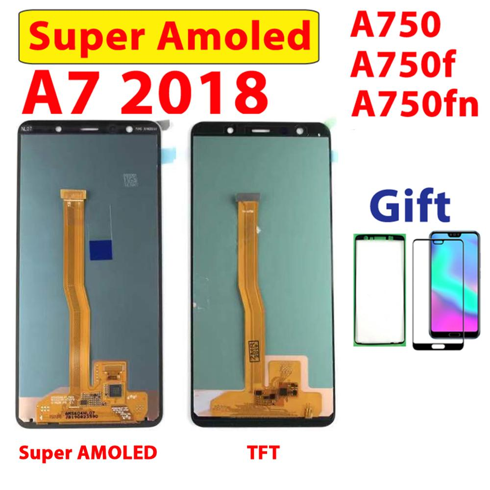 For <font><b>Samsung</b></font> A750 <font><b>A7</b></font> <font><b>2018</b></font> Digitizer Display LCD Touch <font><b>Screen</b></font> Assembly For <font><b>Samsung</b></font> <font><b>A7</b></font> <font><b>2018</b></font> A750F Assembly LCD A750FN Supler AMOLED image