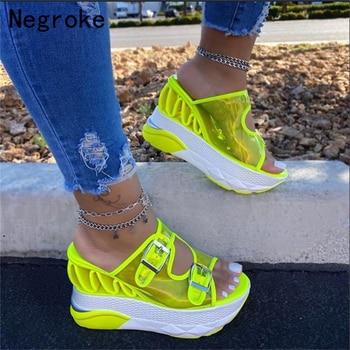2020 New Fashion Platform Sandals Women Shoes Summer Slip-on High Heels Ladies Casual Wedge Chunky Gladiator