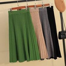 Осенне зимняя утолщенная плиссированная длинная трикотажная юбка трапециевидной формы ярких цветов кашемировые Теплые Элегантные однотонные расклешенные длинные юбки до середины икры зеленого и серого цвета