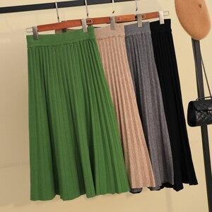 Image 1 - Осенне зимняя утолщенная плиссированная длинная трикотажная юбка трапециевидной формы ярких цветов кашемировые Теплые Элегантные однотонные расклешенные длинные юбки до середины икры зеленого и серого цвета