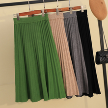 Autumn Winter Thickening Candy Pleated A line Long Knitted Skirt  Cashmere Warm Elegant Solid Flared Calf Long Skirts Green Gray