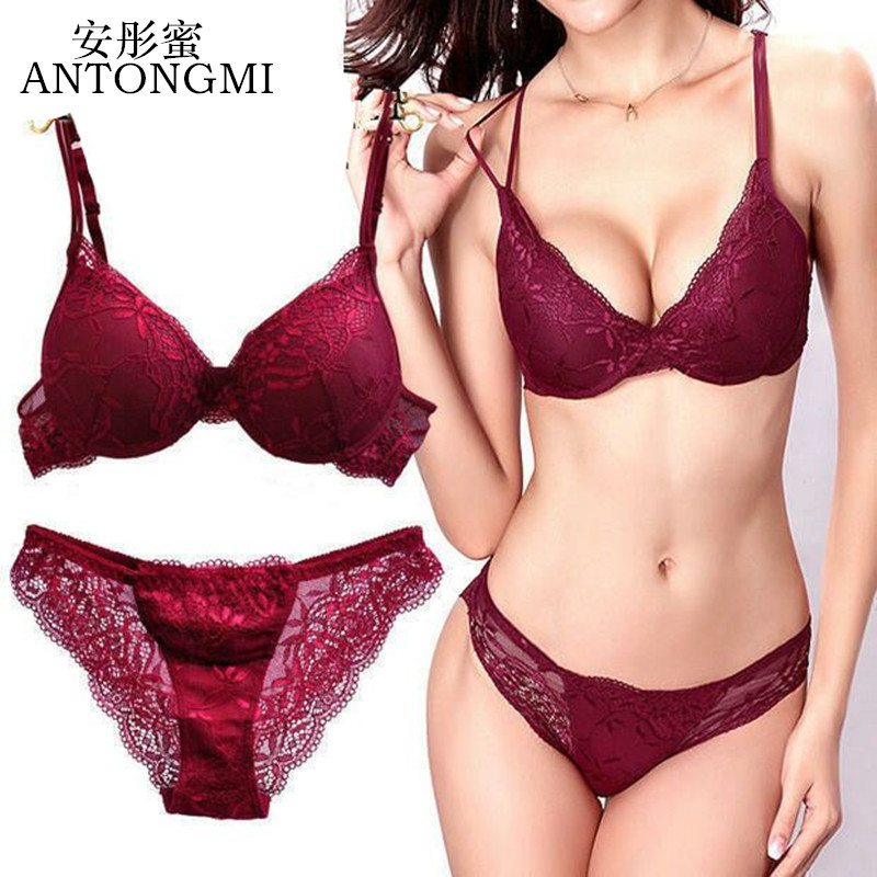 ANTONGMI Women Underwear   Set   Sexy Lace   Bra     Set   Push Up   Bra     Set   Sexy Lace   Briefs   Lingerie 3/4 Cup 70B 75B 80B