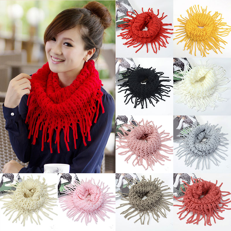 2019 New Fashion Womens Winter Warm Knitted Layered Fringe Tassel Neck Circle Shawl Snood Scarf Cowl 10colors