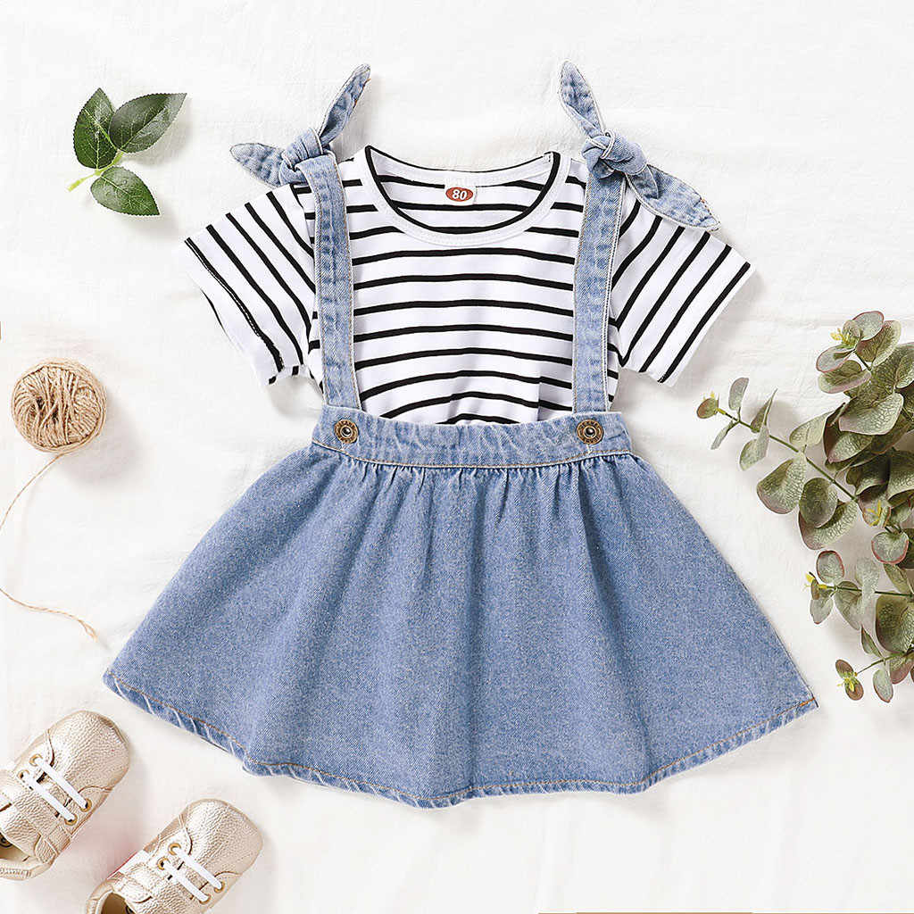 Toddler Kid Baby Girls Bow Stripe Princess Party Skirt Dress Long Sleeve Outfits