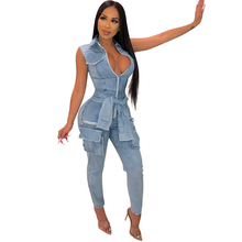 Fashion Pocket Zipper Sexy Deep V-Neck Denim Jumpsuits Women Lace-up Rompers Hollow Out Sleeveless Jeans Long Pants Overalls чайный сервиз 17 пр bernadotte чайный сервиз 17 пр